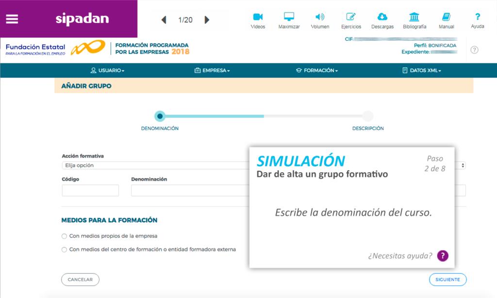 Simulador aplicativo Fundae